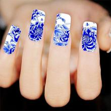 Blue Peony Flower False Nail Art Accessory Tips Wrap Decals Water Transfer Wraps Stickers DIY XF1372(Hong Kong)