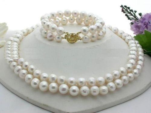 xiuli 00461 SET 9-10MM NATURAL SOUTH SEA GENUINE WHITE PEARL NECKLACE BRACELET <br><br>Aliexpress