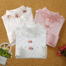 3-13T School Girl Blouse Shirts For Girls Girls Blouse Kids Clothing For Teenagers Soild Korean Backing Shirt With Flowers(China (Mainland))