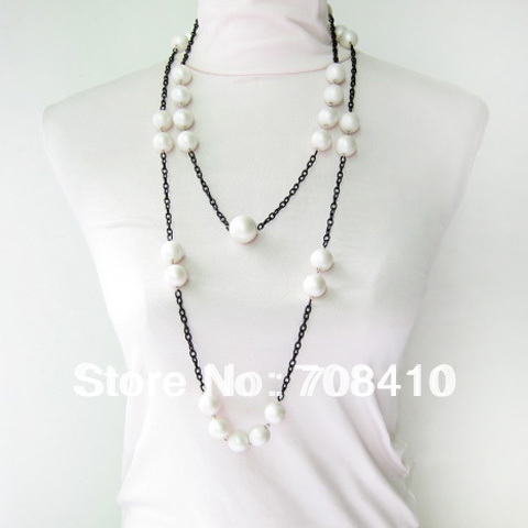 Free shipping!New fashion Scrub round beaded 2 size chains necklaces for woman long adjust 2 rows Necklace(N33)(China (Mainland))