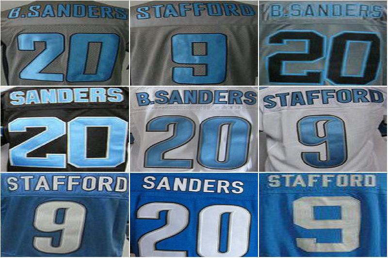 Detroit 9 Matthew Stafford 20 Barry Sanders Wholesale Men American Football Jerseys,cheap White Blue Black Camo Jersey(China (Mainland))