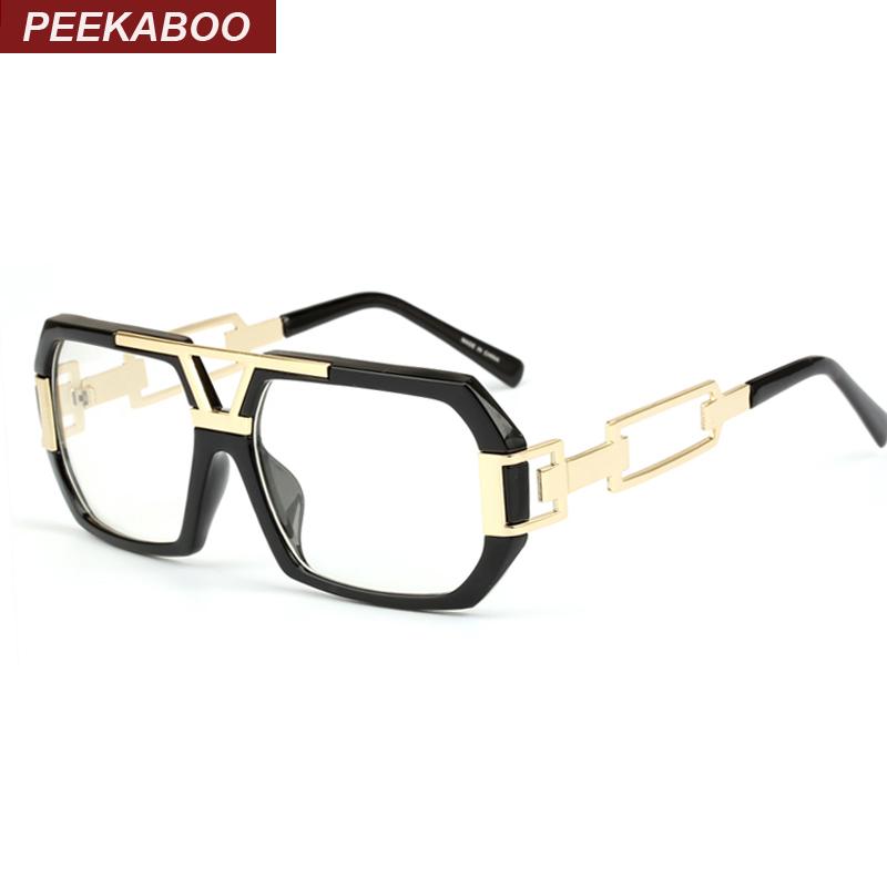 peekaboo newest stylish brand square frame glasses optical male large clear mens designer eyeglass frames black