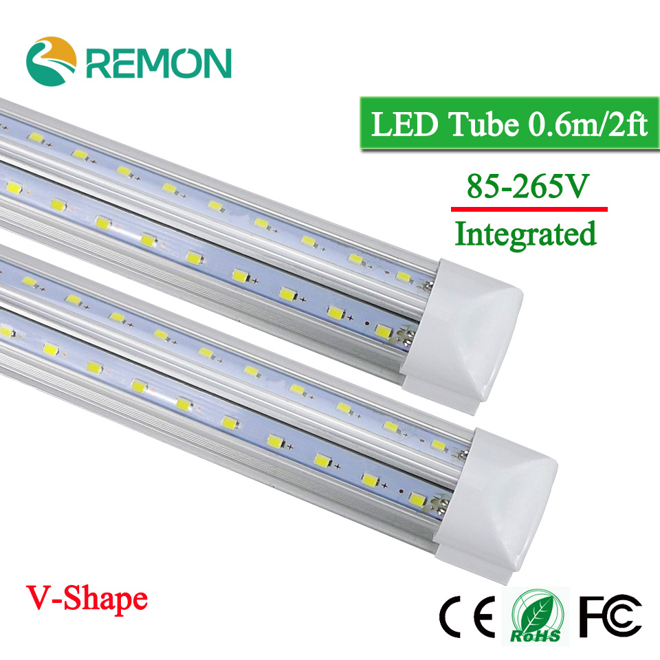 V-Shape Integrated LED Bulbs Tubes T8 600mm 2Feet 20w Led Tube Light AC85-265V 96LED SMD2835 270 Degree Super Bright 2000lm(China (Mainland))