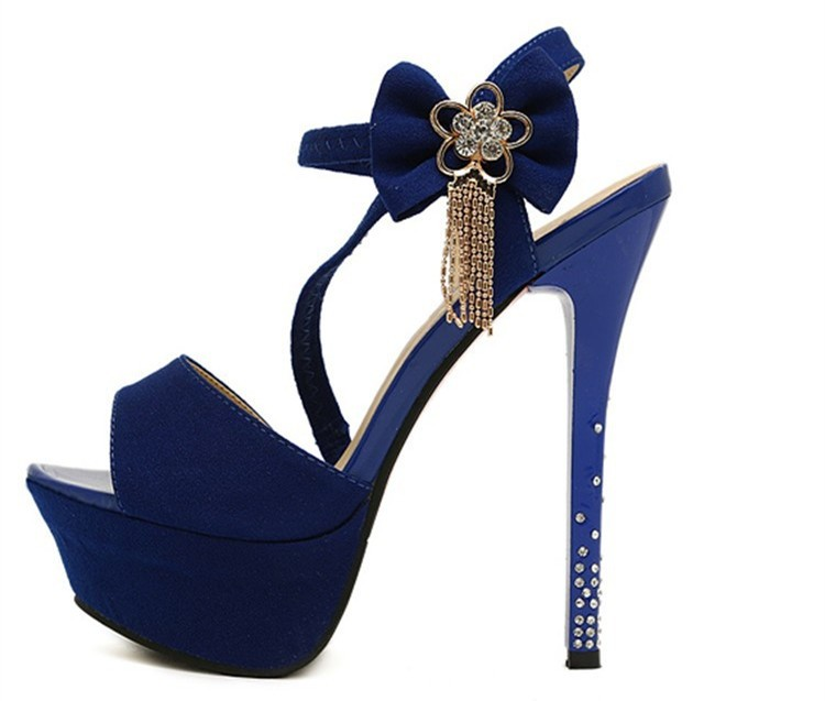 Size 4~8 Top Style Summer Blue Women Shoes 14cm Tassel Crystal High Heels Shoes Women Pumps zapatos mujer (Check Foot Length)
