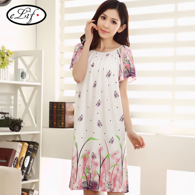 2016 printed short sleeves night dresses brief clothing ...
