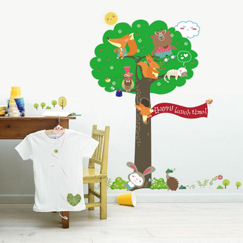 2016 Cartoon Green Tree Sticker Squirrel Owl Bear Cat Animals Stickers Cute Sun Cloud Kids Rooms Poster Vinilos Infantiles WT216(China (Mainland))
