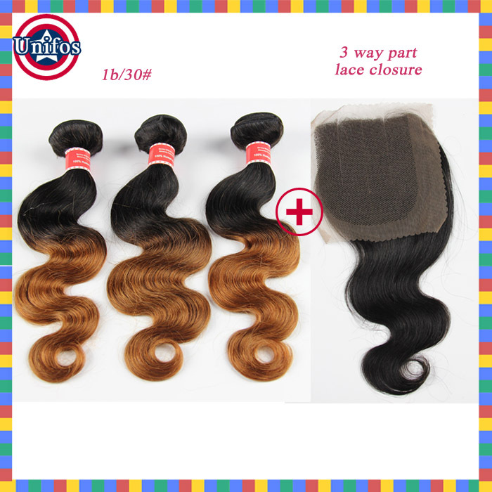 Ombre Virgin Hair Peruvian Lace Closure With Bundles Ombre Hair Extensions With 3 Part Closure Peruvian Body Wave With Closure<br><br>Aliexpress