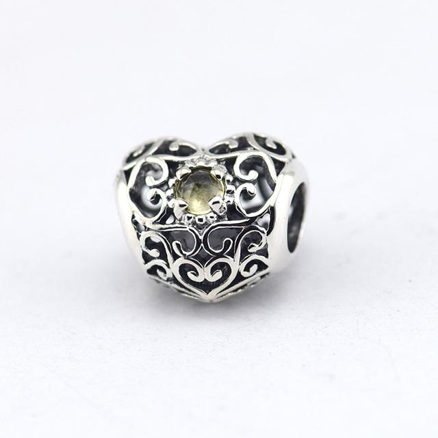 925 - серебристо-ювелирные бусины ноября подпись в форме сердца бусины Fit пандора оригинальный браслет серебряные ювелирные изделия DIY мода
