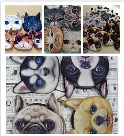 coin purses wallet 2014 new ladies 3D printing dog cat animal big face change fashion cute small zipper bag for women(China (Mainland))