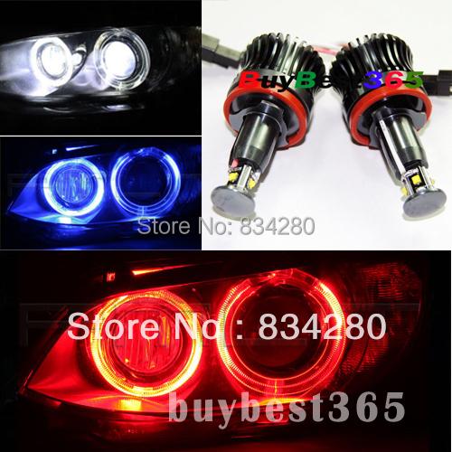20W 40W White Red Blue Angel Eyes LED Lights Ring Marker Xenon HID for E87 E82 E90 E91 E92 M3 E93 E60 E61 E70 E71 E89 X5 X6 Z4(China (Mainland))
