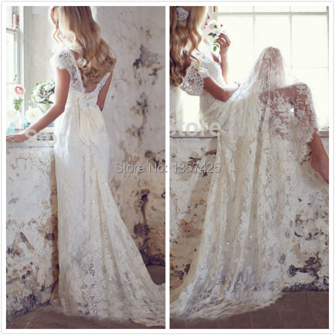 Vestidos de noiva lace beads romantic cap sleeve sheer for Long sleeve casual wedding dresses