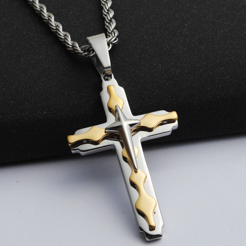 2016 Men's Europe and America jewelry stainless steel pendant necklace pendant cross pendant (hh0813)(China (Mainland))