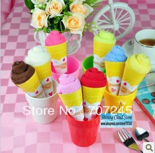 Free ship!30pc!Christmas Valentine wedding supplies / cotton cake towel gift / small monochrome ice cream cones