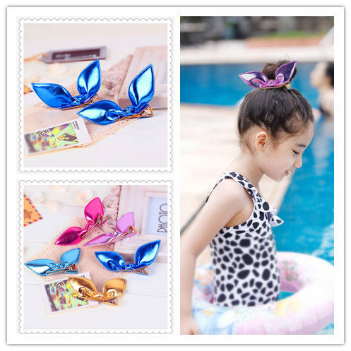 Leather children kids baby girls hair accessories clip hairpins barrettes headwear flower bow Retail Boutique wholesale JF-437(China (Mainland))