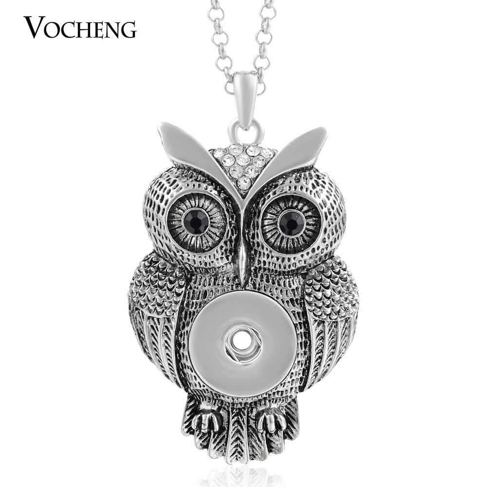 20pcs/lot 18mm Popper Vocheng Snap Jewelry Vintage Owl Crystal Button Pendant Necklace NN-213*20 Free Shipping(China (Mainland))