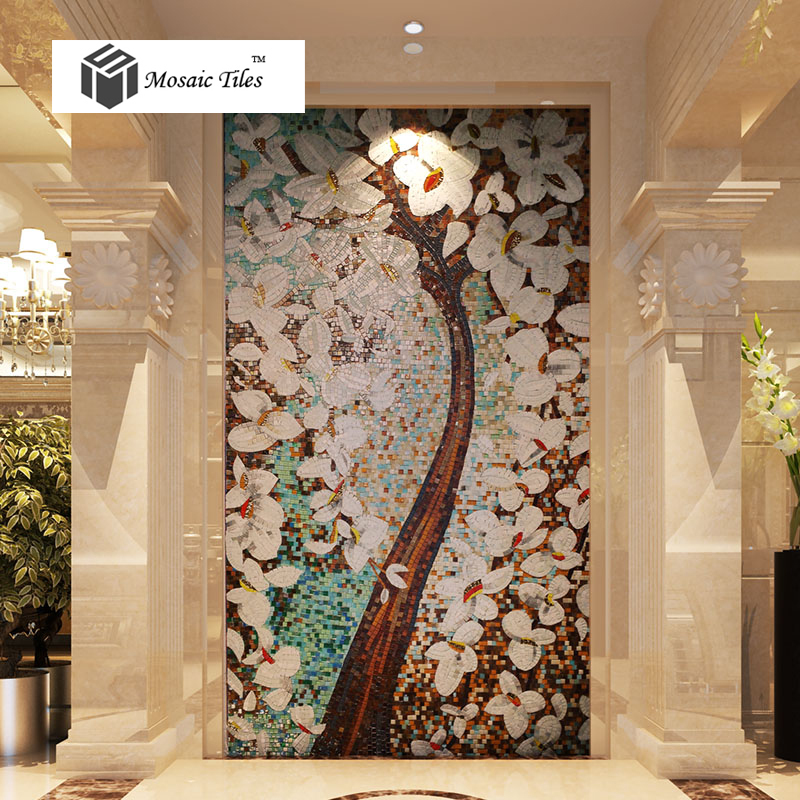 bisazza style jade glass mosaic tiles pachira tree floral puzzle parquet deco mesh art mosaic. Black Bedroom Furniture Sets. Home Design Ideas