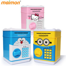 Cute Cartoon ATM Bank Money Saving Box Kitty Password Box Minions Piggy Bank Safe Locks Panda Smart Voice Prompt Money Piggy Box(China (Mainland))