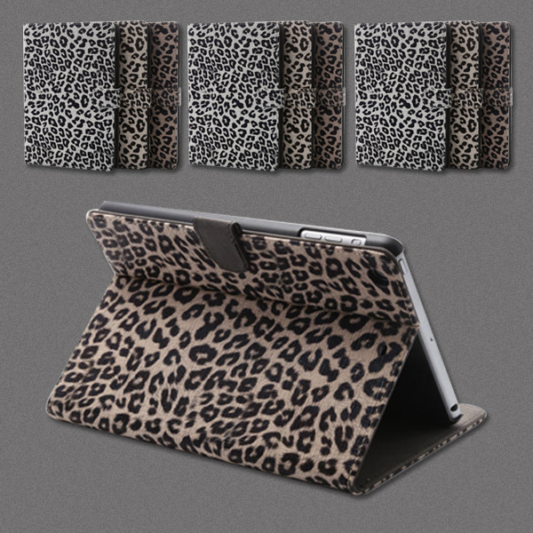 New Ultra Leopard Leather Stand Smart Cases For Apple iPad mini 1 2 3 Case Cover(China (Mainland))