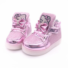 New Cheapest boys girls luminous shoes kids boots Children's Fashion Sneakers Chaussure Enfant Hello Kitty Girls Shoes(China (Mainland))