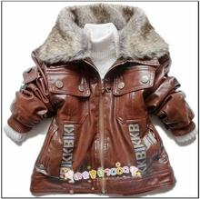 Retail children Outerwear clothing Boys Faux Leather with Faux Fur Collar Baby Kids Spring Outwear Jackets coat Boy Jacket coat