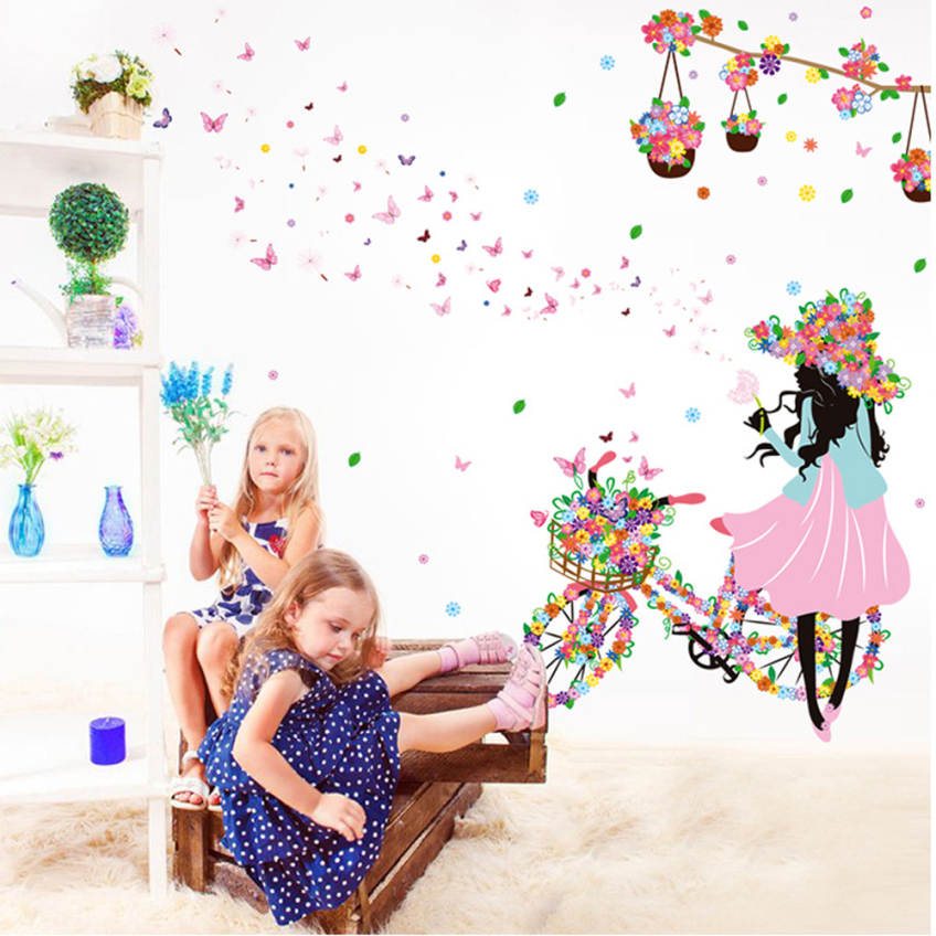 New Butterfly Flower Fairy Stickers Bedroom Living Room Walls Happy Gifts PVC Home Decor Wall Sticker Pegatinas De Pared Muraux(China (Mainland))