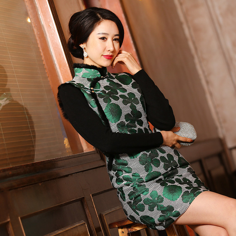 Free Shipping New Arrival Green Chinese Traditional Womens Wool Mini Cheong-sam Dress S M L XL XXL 3XLОдежда и ак�е��уары<br><br><br>Aliexpress