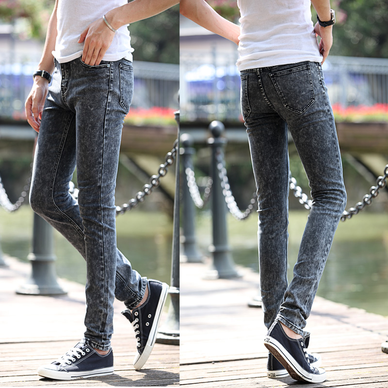 Free shipping Spring new men's black skinny jeans Fashion slim fit snowflake cowboy feet pants mens pencil pants 27-36(China (Mainland))