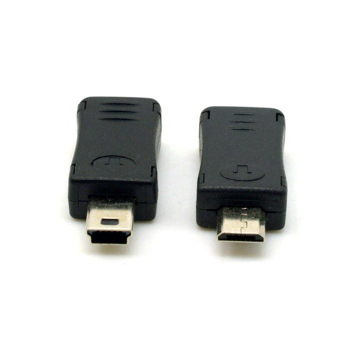 2pcs Mini USB Male to Micro USB 5pin Female & Mini USB Female to Micro USB Male Extension Adapter Black(China (Mainland))