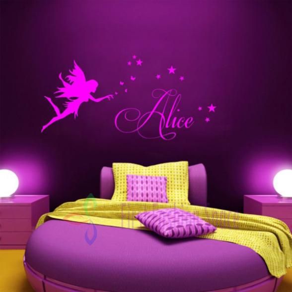 Custom Name Fairy Stars Removable Kids Wall Sticker decor sticker Wall Mural Home Decor 43*90cm(China (Mainland))