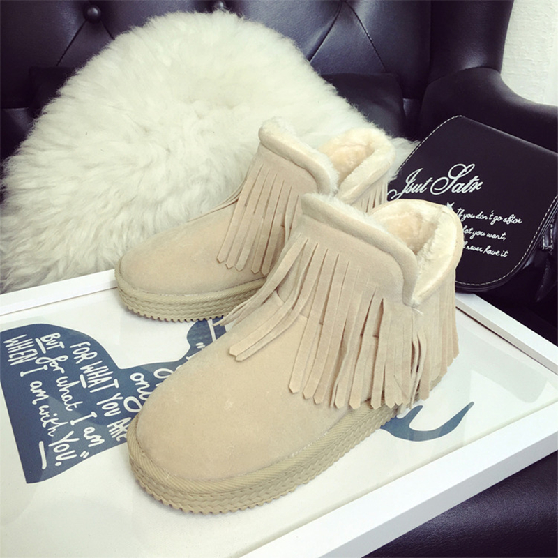 Fashion Womens Winter Snow Boots Shoes 2015 New Arrival High Quality Womens Flat Shoes Warm Womens Shoes Tassel