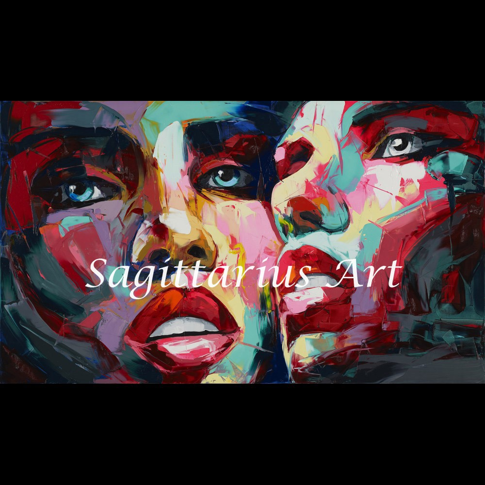 Buy Hand Painted Francoise Nielly Designer Untitled 568 Palette knife Abstract Oil Painting Canvas Home Decor Fine Artwork Cool Face cheap