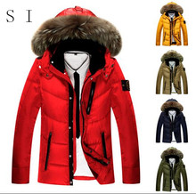 Hot ! 5 Colors 2015Island Men's Mid Long Jacket Real White Duck Down Big Fur Warmly Hood Removeable Brand Winter Man Coat Parka