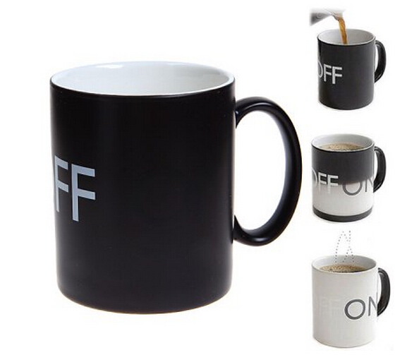 Novel OFF Changing Ceramic Mug Coffee Cup Black