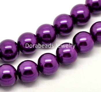 "Free Shipping! 1 Strand Dark Purple Glass Pearl Imitation Round Beads 12mm(1/2"") Dia. 80cm(34-1/2"") long (B18341)"