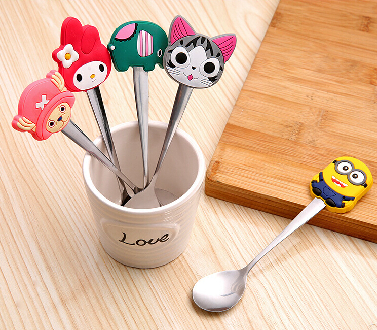 Kitchen Kawaii Silicone Cartoon Characters Stainless Steel Spoon Children's Spoon Soup Coffee Spoon Dinnerware heat insulation(China (Mainland))