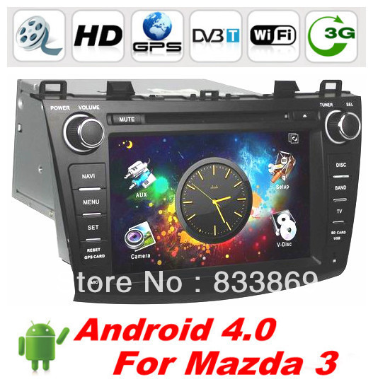 """Free shipping 8 """"2 Din Android 4.0 Car DVD GPS For New Mazda 3 with BT Ipod Radio TV 3D UI PIP 3G/WIFI free WIFI dongle+ CAN BUS(China (Mainland))"""