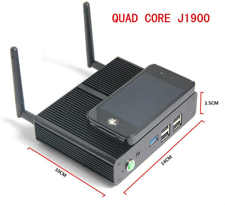 Fanless mini pcs with celeron quad core J1900 2 0Ghz 7 5W Power HDMI VGA aluminum