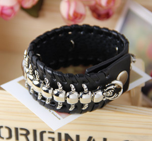 pulseras men jewelry leather bracelet Cool Rock Men scolopendra Studs Genuine Leather Bracelets Black Bracelet