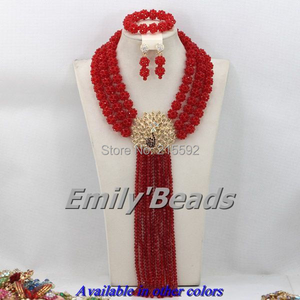 Red Nigerian Wedding African Beads Jewelry Set African Costume Crystal Beads Necklaces Jewelry Sets Free Shipping AEJ020<br><br>Aliexpress