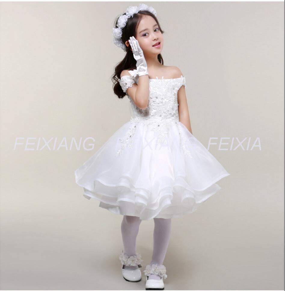 Фотография Flower Girl Dresses For Weddings baby Girls bridal dress Pageant Children Clothing for Girls birthday Kids Party Dress F051