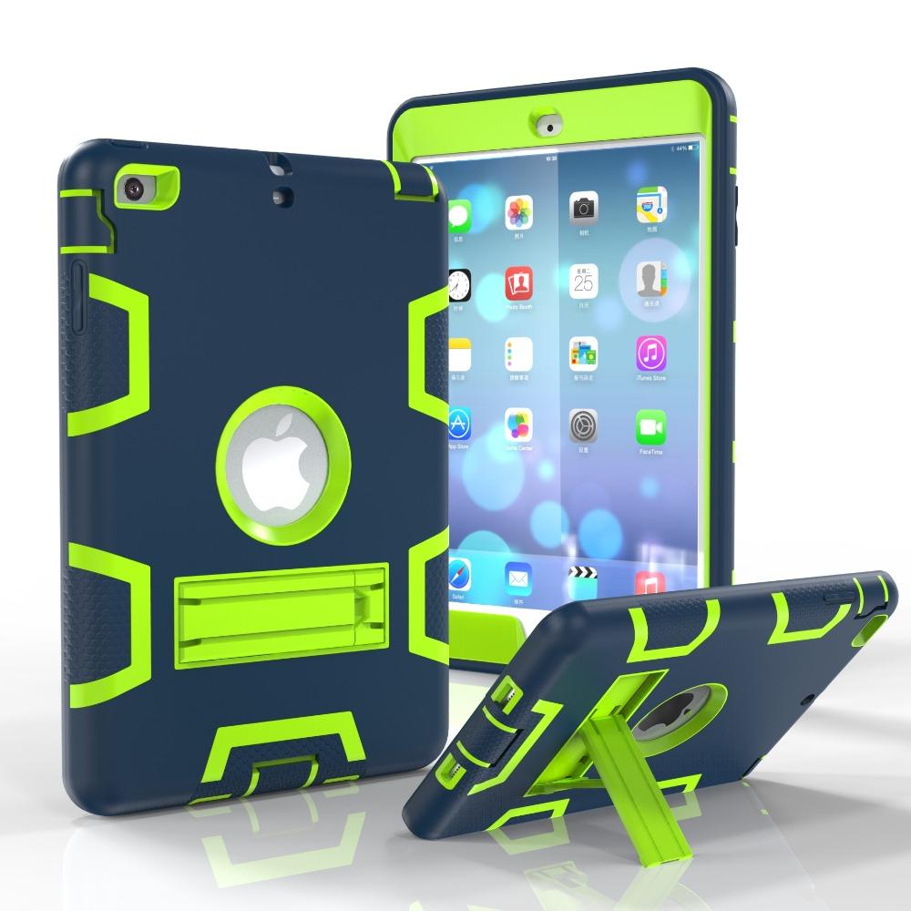2016 Coque Case for iPad Mini 2 3 1 Heavy Duty Plastic+Rubber Cover Case for iPad Mini 3 2 1 Hybrid 3in 1 with Stand Holder 12C(China (Mainland))