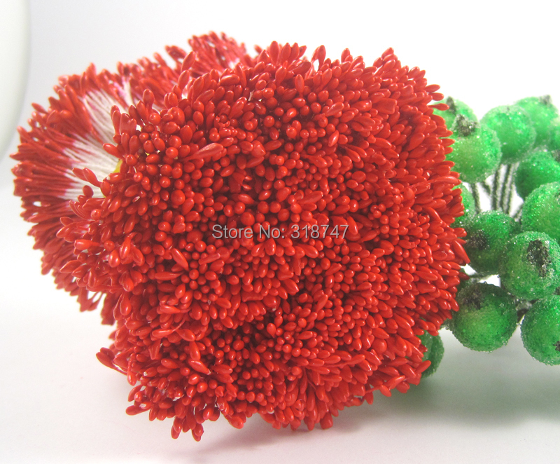 288pcs 1mm pearl red color flower stamen floral stamen cake decoration for DIY Double heads crystal stamens  11010107(288)(China (Mainland))
