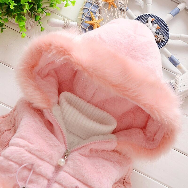 Winter Infant Rabbit Hair Velvet Thicken Coat Baby Girl Faux Fur Fleece Hoodie Jacket Kid Warm Cotton Knitted Clothing Outerwear