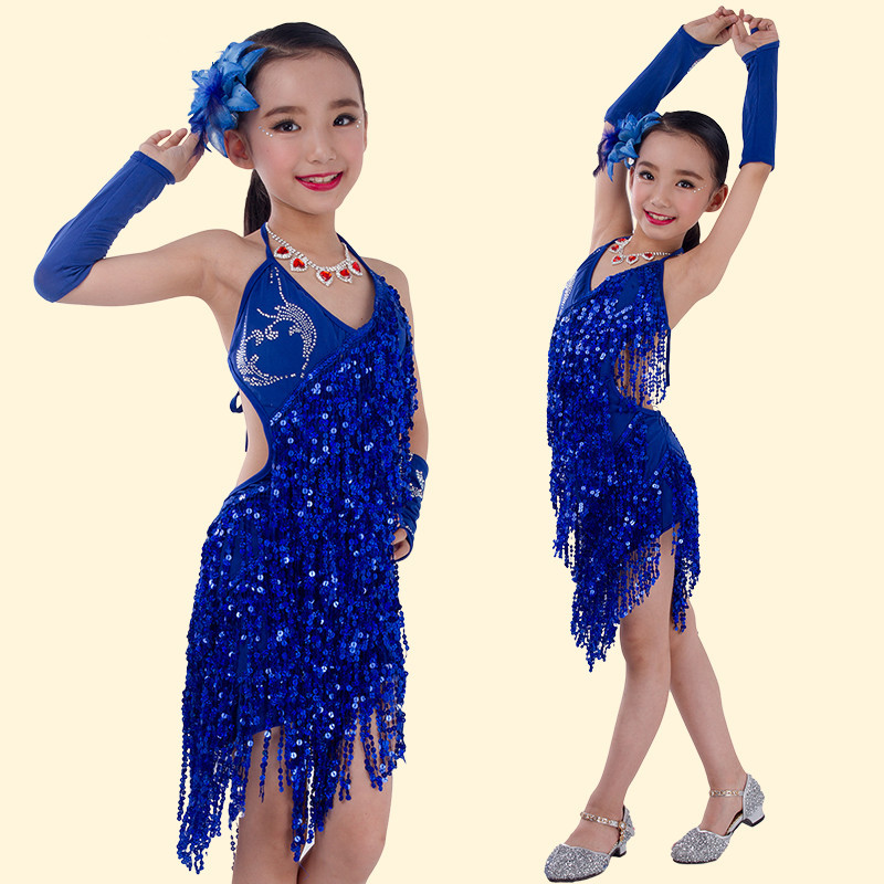 New style child latin performance wear Sling Sequin kids latin dance costume Tassels children dancing dress dance clothing(China (Mainland))