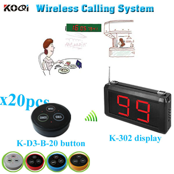 Wireless Restaurant Paging System Service At Finger Tips Equipment(1 display+20 table bell button)(China (Mainland))