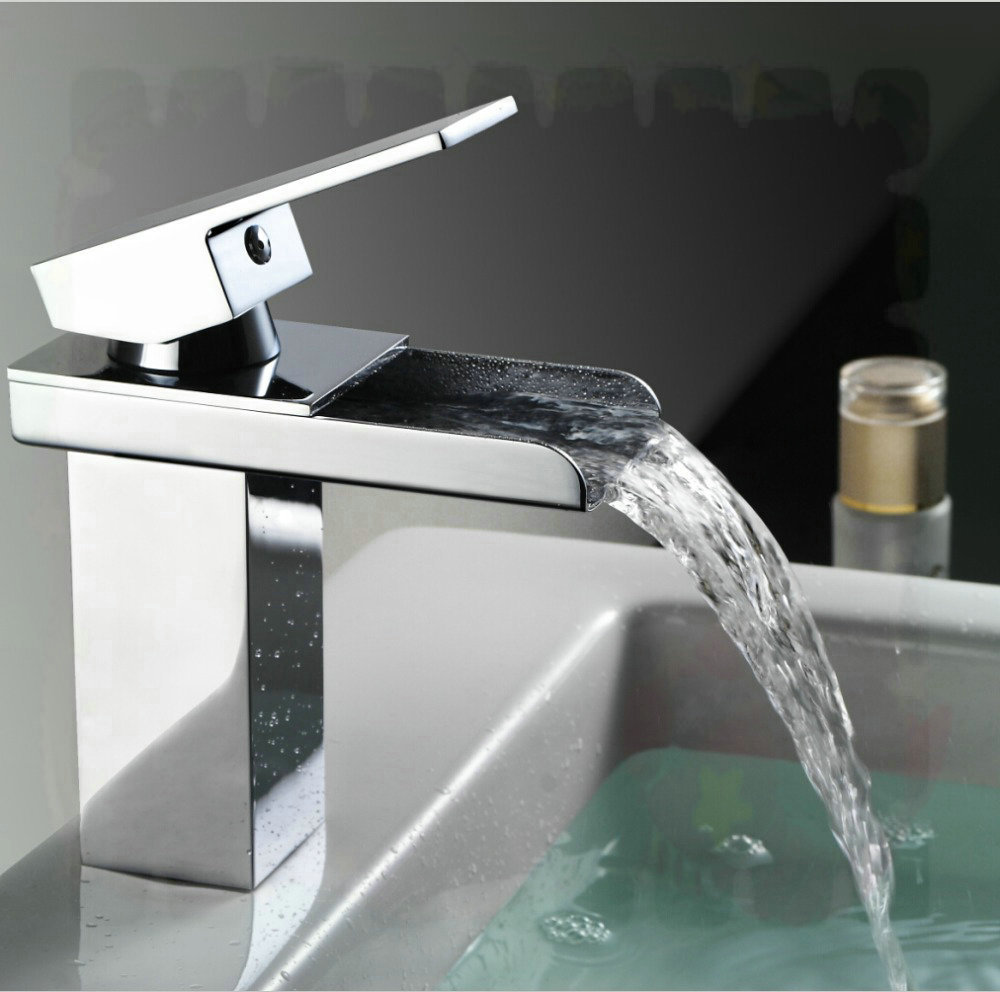 torneira press Bathroom waterfall faucet. Brass Made Chrome surface one handle Deck Mounted Waterfall tap. Basin sink mixer Torn(China (Mainland))