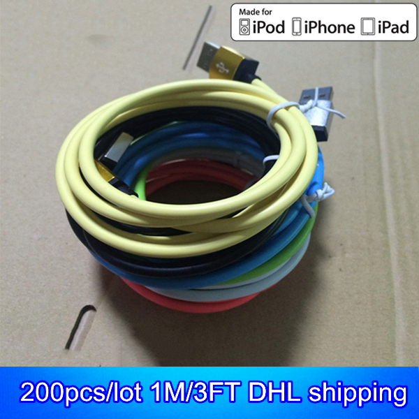 200pcs/lot DHL shipping mix colors 1M/3FT OD 4.0 durable design metal usb cable kable charging for iphone 5 5s 5c 6 plus ios 8(China (Mainland))