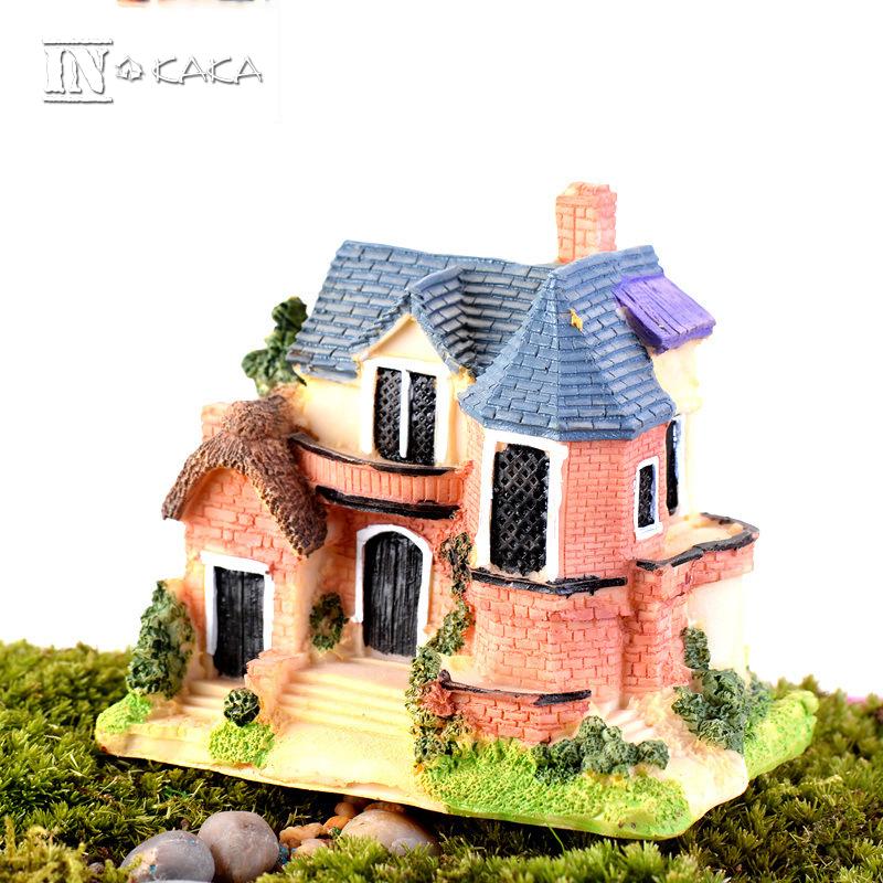 Resin mini luxury villa house micro fairy garden decor for Home garden accessories
