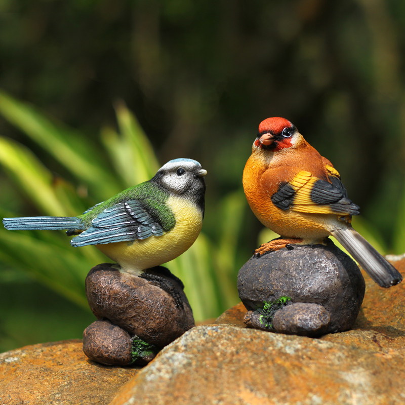 Garden birds ornaments creative home accessories resin birds decorations desk decorative animal bird figurine cute toys gift(China (Mainland))