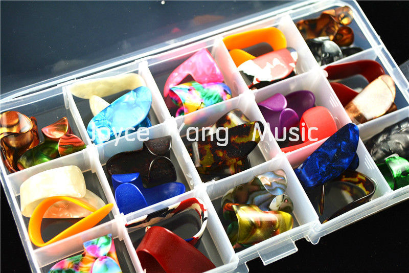 30pcs Alice Pearl Celluloid Finger Thumb Picks Guitar Plectrums+1 Large Plastic Picks Holder Case Box Free Shipping(China (Mainland))